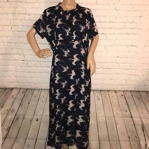 Hinge crane maxi dress M
